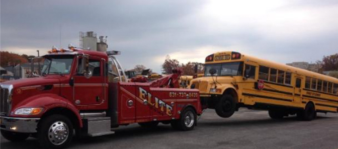 Towing a heavy duty Long Island school bus